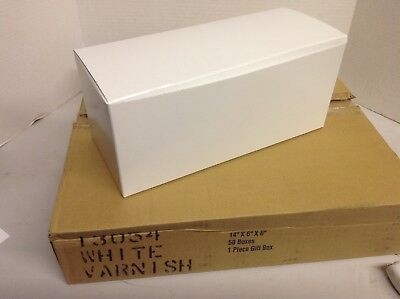 Lot Of 50 Gift Boxes 14x6x6 White Varnish Fee Shipping