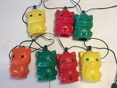 Vintage Blow Mold 7 Cats RV Patio String Lights NM