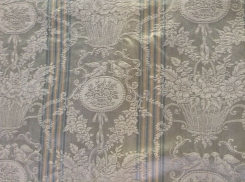 Antique French Silk Stripe Damask Fabric Napoleon III Blue Grey Dolls Upholstry