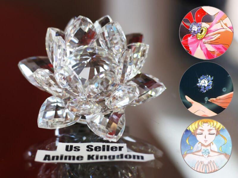 "USA Seller Cosplay Sailor Moon Silver Crystal Lotus Shaped 3"" Crystal Flower 8cm"