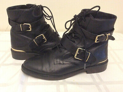 Vince Camuto Womans Black Strap Lace Up Boots , Biker, Cosplay, Steampunk, Sz 9