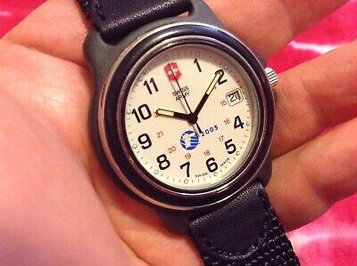 vint watch mens SWISS ARMY date victorinox military styl fixed bezel 24220 quart