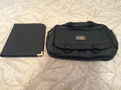 Set Of 2 Faux Leather Deluxe Document Bag With Matching Writing Folio Pad Nwt