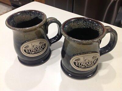 Edwards Apple Orchard Poplar Grove Illinois Pottery Set Of Two Coffee Mugs 4 75