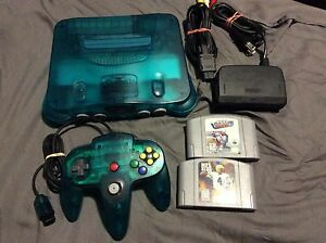 Ice Blue N64 with games