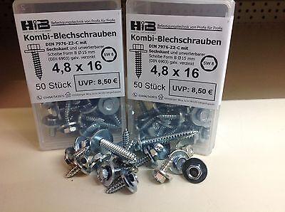 Kombi Blechschraube Sechskant + unverlierbare Scheibe Stahl verzinkt Schraube
