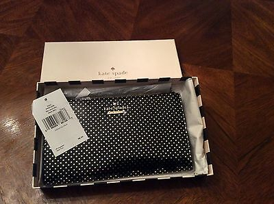 New Kate Spade Wristlet Leyna Lilac Street Dot Black Shiny Gold $98 NWT