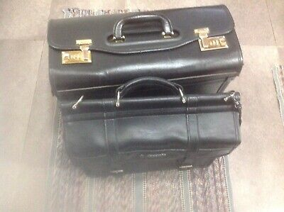 Samsonite Leather Satchel Office IPad/Laptop Work Bag Black Semi Soft Brief Case