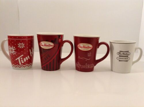 TIM HORTONS LOT OF 4 MUGS LIMITED EDITION 008 010 015 & STEELITE ENGLAND