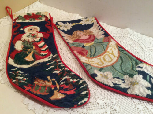 Two Hand Made Needlepoint Christmas Stocking Red Velvet Back Santa & Angel Joy