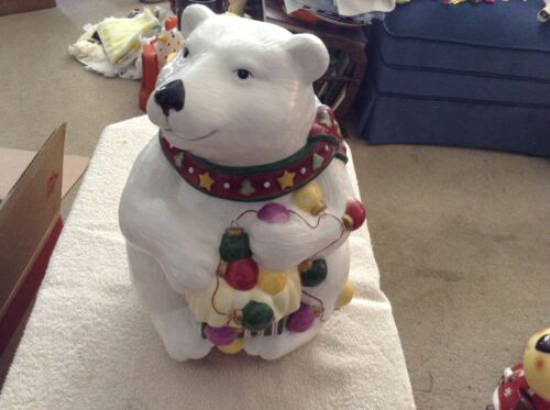 JCPenney ceramic bear holiday cookie jar