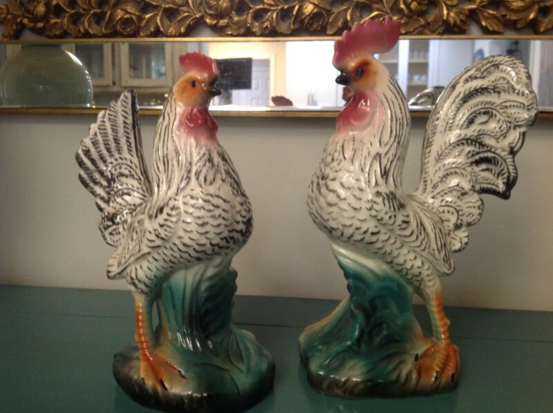 vintage chickens hen rooster set black white