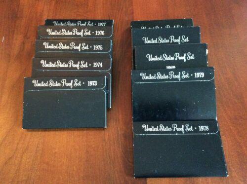 1973-1982 Complete Run US Govt Proof Sets in original boxes 10 pcs