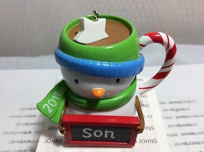 SON HALLMARK ORNAMENT 2018 DATED SNOWMAN FAMILY CUP COLLECT-THEM ALL!
