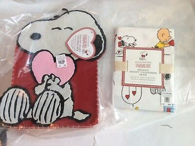 Pottery Barn ORGANIC PEANUTS Snoopy Valentine LOVE SHAM + CHAIRBACKER PILLOW DOG