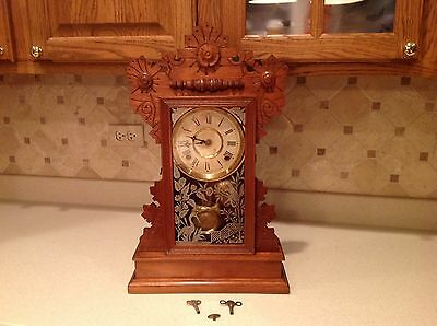 Antique Carp Mantle Clock Wm. L. Gilbert Clock Co USA Very Nice W/ Keys