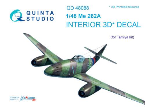 Quinta QD48088 1/48 Me-262A 3D-Printed & coloured interior (for Tamiya kit)