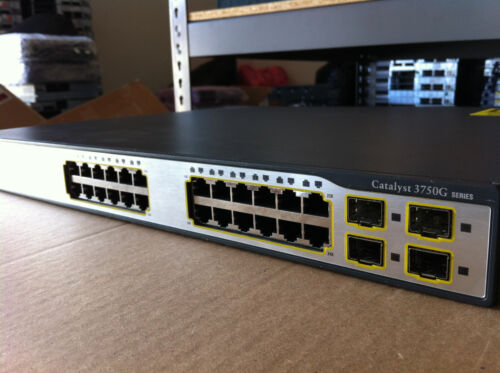Cisco 24 Ethernet 10/100/1000 Ports Ws-c3750g-24ts-e1u Switch W/ Rack