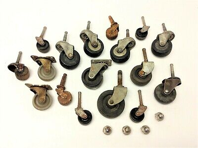 Mixed Vintage Lot Used Rubber Metal Plastic Wheels Casters Furniture Parts