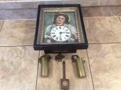 LEO VAN RIJN ANTIEK BLINKING EYE PICTURE FRAME CLOCK  Automation BLACK FOREST