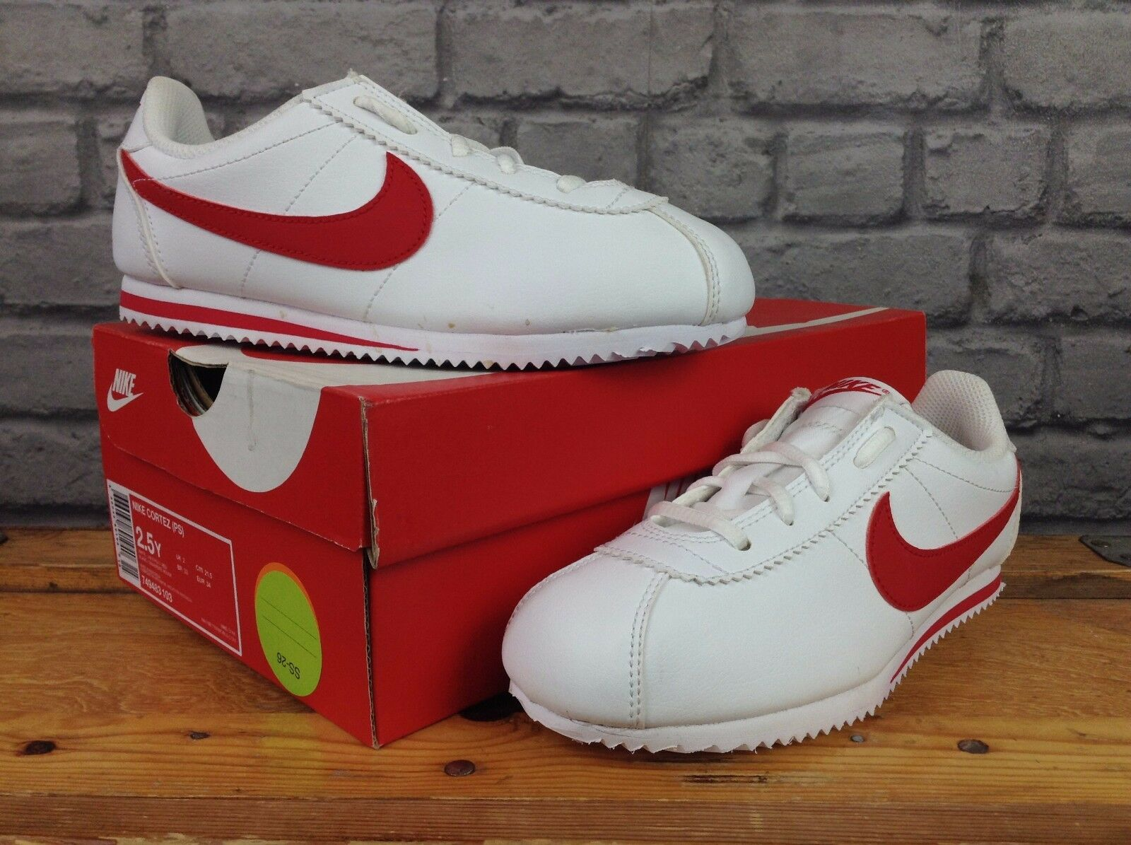 wholesale price authentic quality half price Details about NIKE CORTEZ (PS) GIRLS LADIES UK 12C,1,2,5.5,6 WHITE & RED  LEATHER TRAINERS