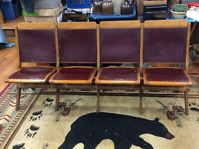 Antique 4 Seat Folding Theater Seats Wood Leather