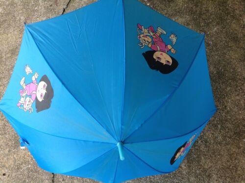 Vintage Dora the Explorer Nickelodeon Blue Logo Child Size Umbrella *WoW*