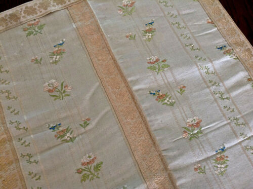 Pair French Antique 18thC Silk Brocaded Fabric Silk Damask Silk Ribbon Dolls