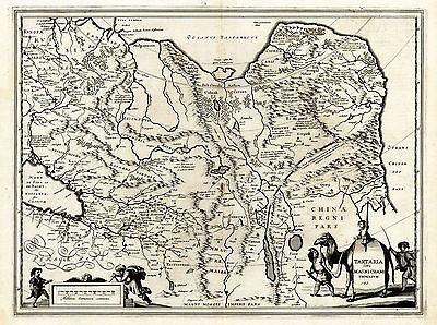 Antique Map-TARTARIA-CHAMI-Hondius-Janssonius-1633