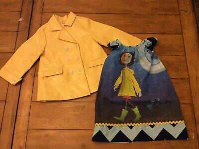 Coraline cosplay halloween costume tunic dress yellow rain jacket Child kids 2-4