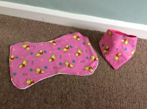 Baby+Burp+Cloth+%26+Bandana+Bib+Set+-+Handmade+-+Winnie+The+Pooh+on+Pink