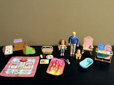 LOVING FAMILY LOT DOLLHOUSE FURNITURE BABY DAD FIGURE FISHER PRICE