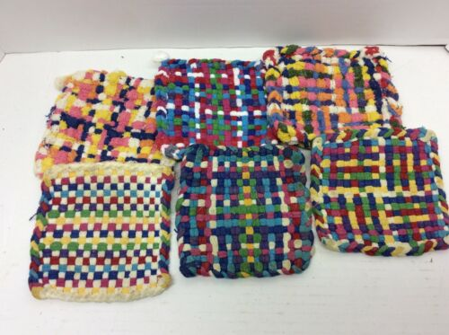Group of 6 Vintage Woven Pot Holders Kitchen Colorful