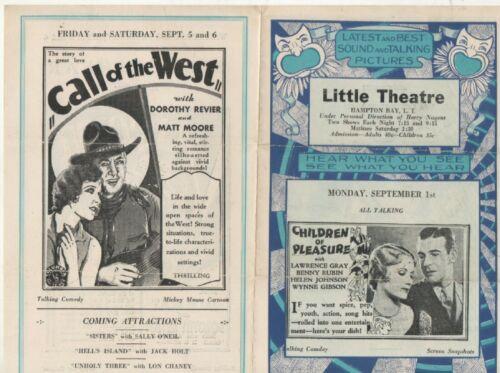 Little Theatre Movie Flyer Hampton Bay, Long Island  1930