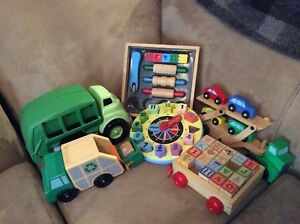 Wooden toys and recycled recycling truck