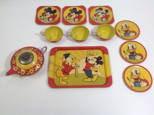 Vintage Walt Disney Mickey Mouse & Donald Duck Happynak Tin Toy Tea Set England