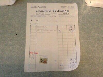 """Ancien bon de commande """"facture""""Confiserie plasman 02/04/1970 Huizingen"""