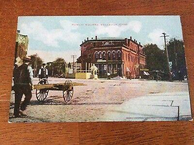 Postcard Bellevue, Ohio. Public Square. Brick Roads, Pedestrians. (Bellevue Square Bellevue)