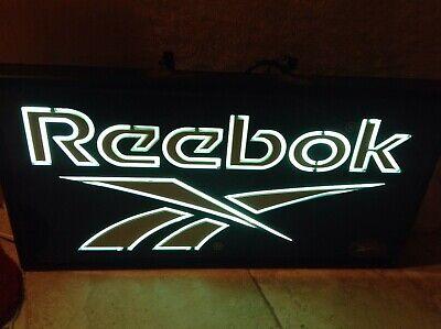 "Rare LIGHT UP REEBOK Shoe Store Advertising Sign Display 24 ""x12 "" huge neon vtg"