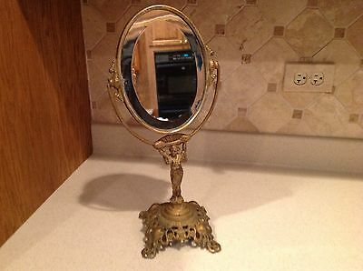 Antique Vintage Shaving Mirror Goldin Manuf. Woman Holding Mirror  Ornate Unique