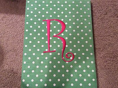 Portfolio Note Pad Letter R Green With White Poka Dots Used Once.