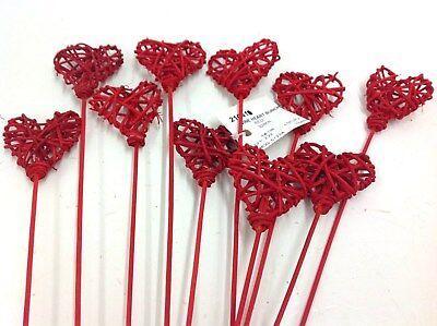 Vine Heart Pick Bundle. Set of 10 Stems. Red. 18