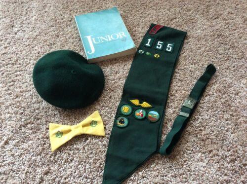 Vtg Lot Girl Scout Sash Bowtie Belt Beret and Handbook 70's