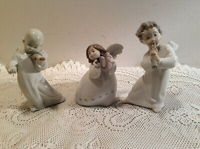 Vintage LLadro Angle Porcelain Figurine 3 Angles One with Harp,Violin ,Flute All