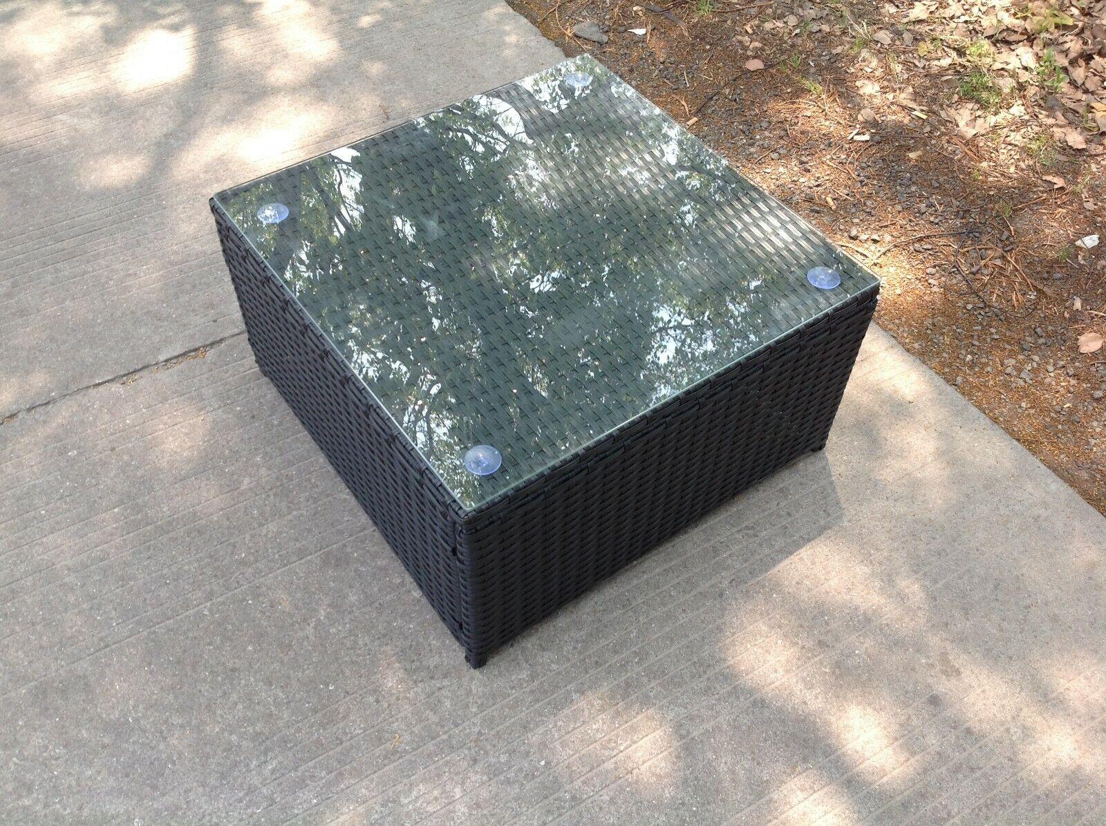 Garden Furniture - Rattan Square Coffee Table Outdoor Garden Furniture patio furniture Black