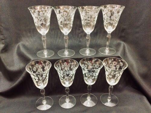 "Set 8 Vintage Cut Crystal Wine Goblets 7-1/2"" Optic Gray Cut Crystal"