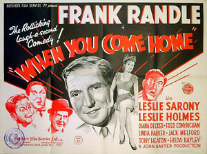 WHEN YOU COME HOME 1947 Frank Randle Leslie Sarony Diana Decker UK QUAD POSTER