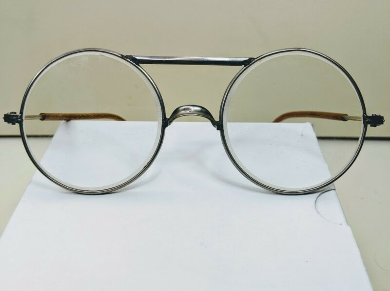 Vintage Clear Round Metal Frame Safety Glasses Non Prescription Dockson