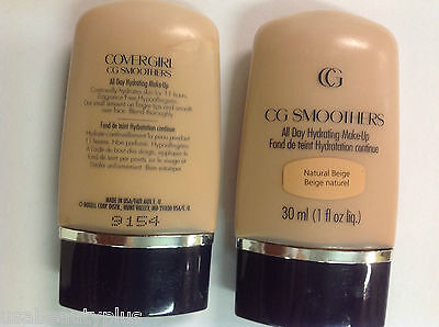 2 X CoverGirl CG Smoothers All Day Hydrating Makeup Foundation NATURAL BEIGE.