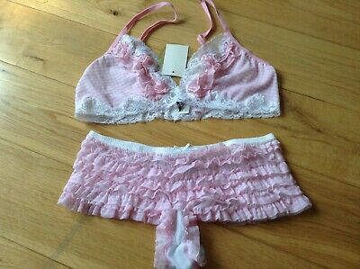 Honeydew Intimates Ladies Frilly Rara Pants Knickers with Matching Bra Size 10